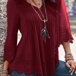 🆕Zanzea Floral Crochet Pleated Blouse